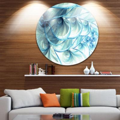 Designart Light Blue Fractal Flower Soft Pattern Floral Metal Circle Wall Art