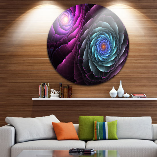 Designart Fractal Blue Purple Flower Digital Art Floral Metal Circle Wall Art