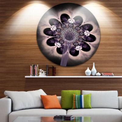Designart Bright Yellow Digital Art Fractal FlowerFloral Metal Circle Wall Art