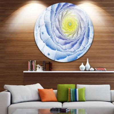 Designart Fractal Flower Blue Yellow Digital Art Large Flower Metal Circle Wall Art