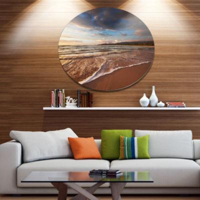 Design Art Cloudy Sky over Wide Seashore Disc Large Seashore Circle Metal Wall Decor