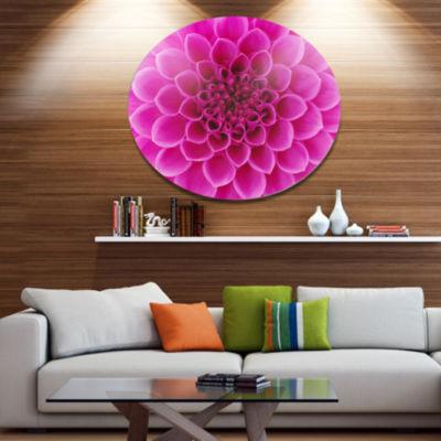 Design Art Large Pink Flower and Petals Disc Floral Circle Metal Wall Decor
