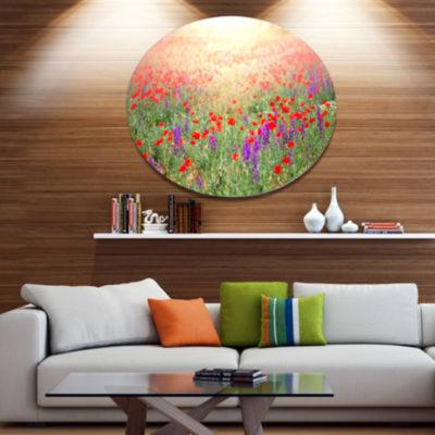 Design Art Expansive Poppy Field At Sunset FloralOversized Circle Metal Artwork