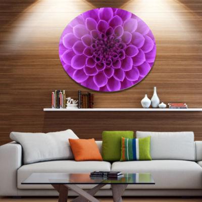 Design Art Light Purple Abstract Flower Petals Disc Floral Circle Metal Wall Decor
