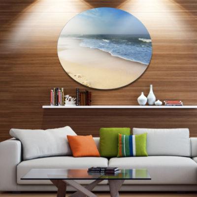 Design Art Clam Tropical Beach with Footprints Large Seashore Metal Circle Wall Art