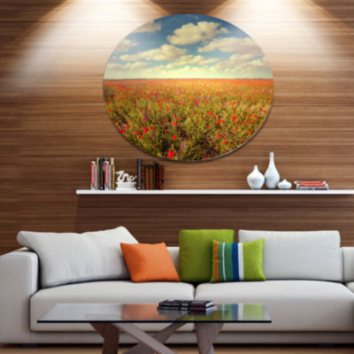 Design Art Poppy Filed under Bright Sky Disc Floral Circle Metal Wall Decor