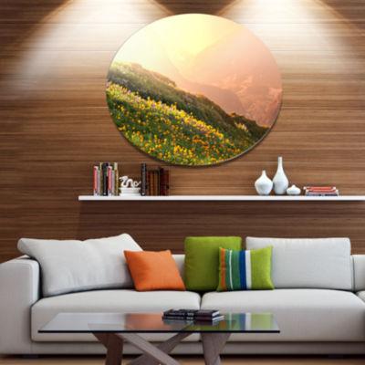 Design Art Flowering Mountain Meadow View Oversized Landscape Metal Circle Wall Art