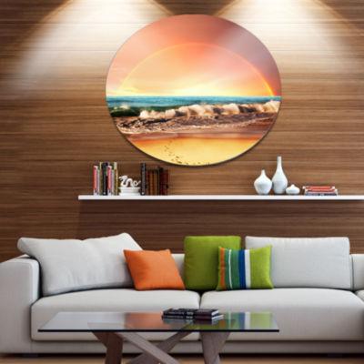 Design Art Majestic Rainbow over Seashore Disc Landscape Wall Art on Metal Wall