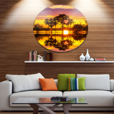 Design Art Trees Mirrored in Flooded Waters Disc Landscape Wall Art on Metal Wall