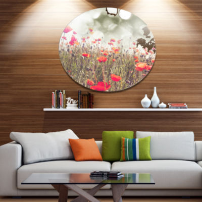 Design Art Red Poppy Flowers Meadow Disc Floral Circle Metal Wall Decor