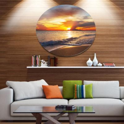 Design Art Yellow Sunset Through Dark Clouds LargeSeashore Metal Circle Wall Art