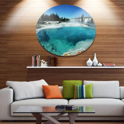 Design Art Fantastic Blue Yellowstone Lake Landscape Wall Art on Metal Wall