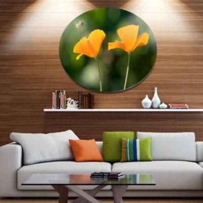 Design Art Orange Flowers and Flying Bee Floral Oversized Circle Metal Artwork