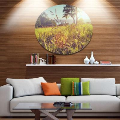 Design Art Green Summer Meadow Disc Landscape Circle Metal Wall Decor