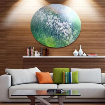 Design Art Mountain Plain with Little Flowers Large Flower Oversized Circle Metal Artwork