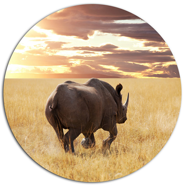 Design Art Giant Rhino under Bright Sky African Metal Circle Wall Art Print