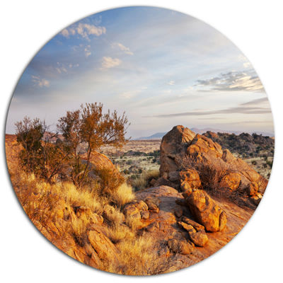 Design Art Beautiful African Rocky Landscape Oversized Landscape Oversized Circle Metal Artwork