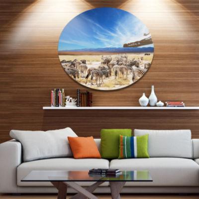 Design Art Herd of Zebras under Blue Sky African Metal Circle Wall Art