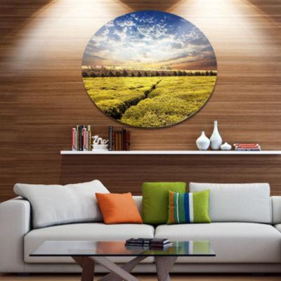 Design Art Tea Plantation under Cloudy Sky Landscape Wall Art on Metal Wall