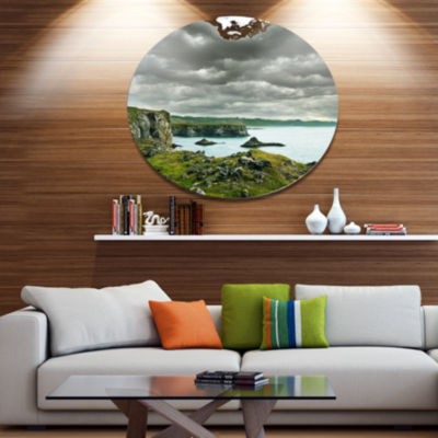 Design Art Icelandic Coast under Dark Clouds LargeSeashore Oversized Circle Metal Artwork