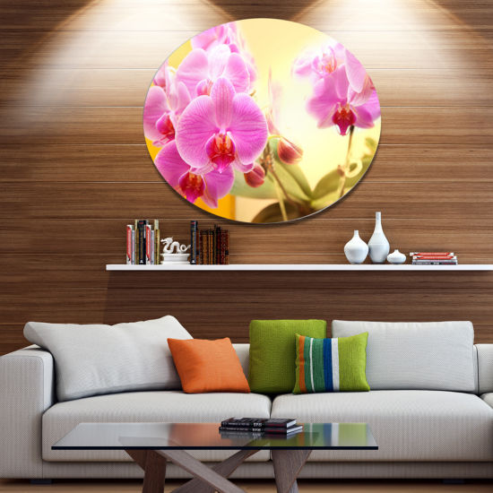 Design Art Blooming Purple Orchid Flowers Floral Oversized Circle Metal Artwork