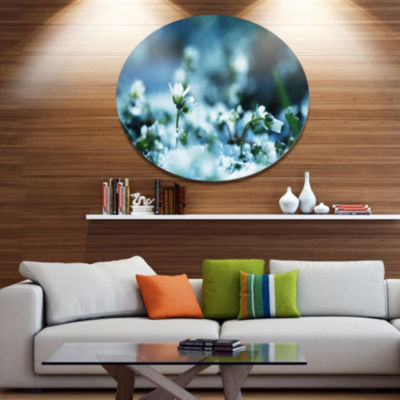 Design Art White Flowers on Blue Background FloralOversized Circle Metal Artwork