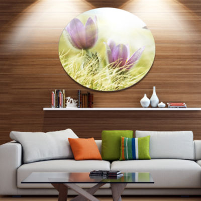 Design Art Large Purple Flowers in Green Grass Disc Floral Circle Metal Wall Decor
