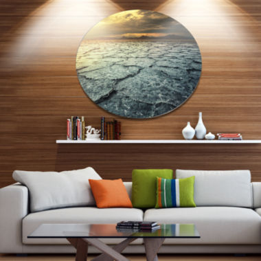 Design Art Dark Drought Land under Cloudy Sky DiscLandscape Wall Art on Metal Wall