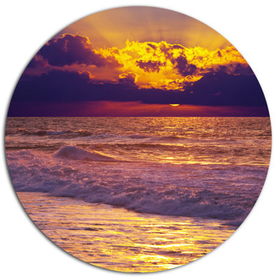 Design Art Clouds in Bright Sunshine At Sunset Oversized Landscape Metal Circle Wall Art
