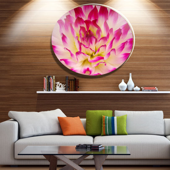 Design Art Smooth Purple White Flower Petals DiscFloral Circle Metal Wall Decor
