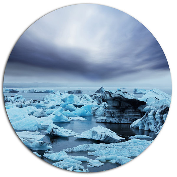 Design Art Beautiful Melting Glacier in Iceland Oversized Landscape Metal Circle Wall Art