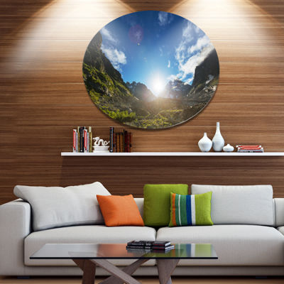 Design Art Caucasus Hills under Bright Sunset Landscape Oversized Circle Metal Artwork