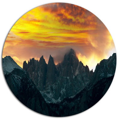 Design Art Whitney Mountains under Cloudy Sky Oversized Landscape Metal Circle Wall Art
