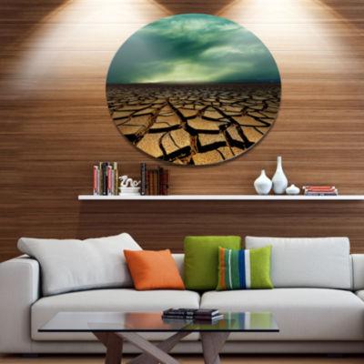 Design Art Drought Land under Dramatic Blue Sky African Landscape Metal Circle Wall Art