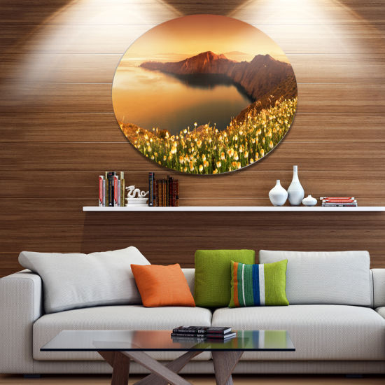 Design Art Sunrise Wildflowers on Santorini FloralOversized Circle Metal Artwork
