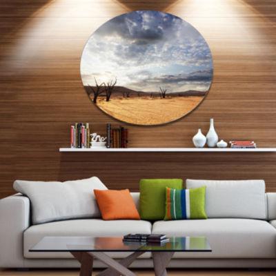 Design Art Namib Desert under Cloudy Sky OversizedLandscape Metal Circle Wall Art