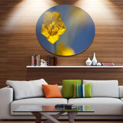 Design Art Solitary Large Yellow Flower Floral Oversized Circle Metal Artwork