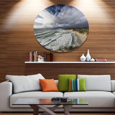 Design Art Stunning South Africa Sea Coast Large Seashore Metal Circle Wall Art