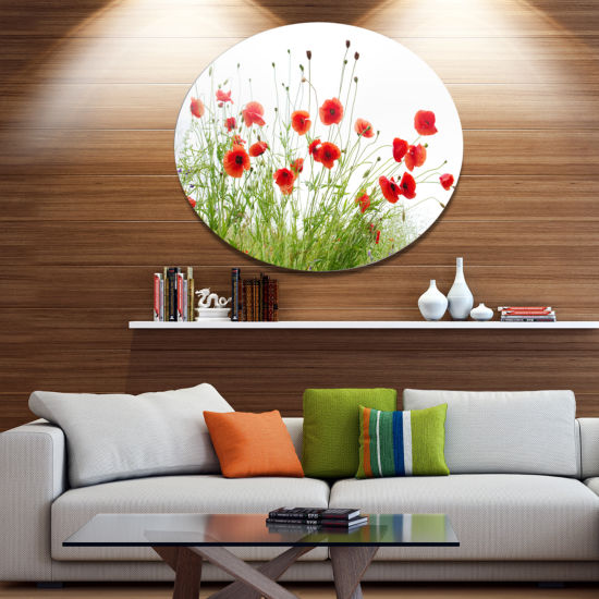 Design Art Poppies on White Background Floral Metal Circle Wall Art