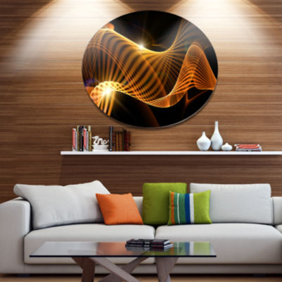 Design Art Yellow 3d Shaped Fractal Design Contemporary Abstract Wall Art