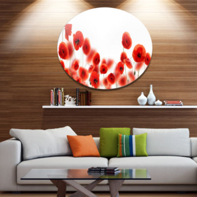 Design Art Lovely Poppy Flowers on White Floral Metal Circle Wall Art