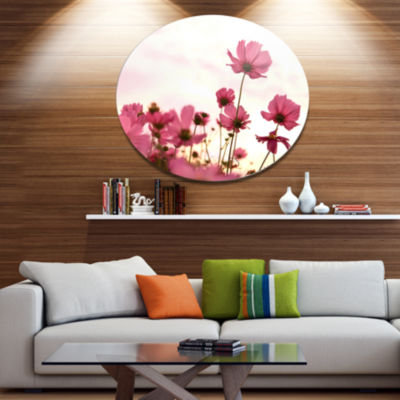 Design Art Cosmos Flowers Meadow At Sunset FloralMetal Circle Wall Art