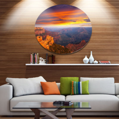 Design Art Colorful Grand Canyon At Sunset Extra Large Landscape Metal Circle Wall Art