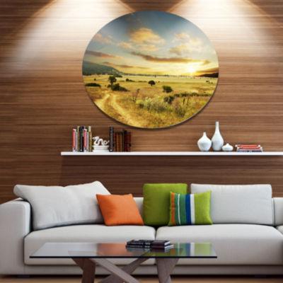 Design Art Beautiful Rural Prairie Sunset AfricanLandscape Metal Circle Wall Art