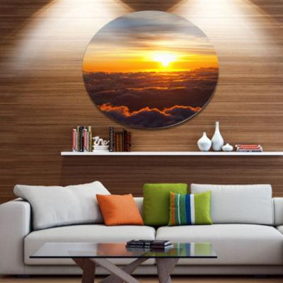 Design Art Fantastic Sunset Sky and Clouds Oversized Landscape Metal Circle Wall Art