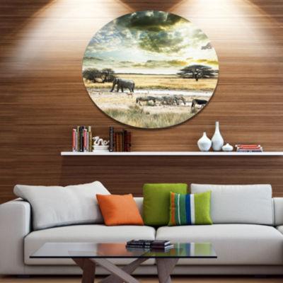 Design Art Wild African Zebras and Elephant African Metal Circle Wall Art
