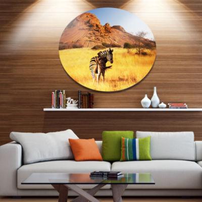 Design Art Lonely Zebra in African Prairie AfricanMetal Circle Wall Art