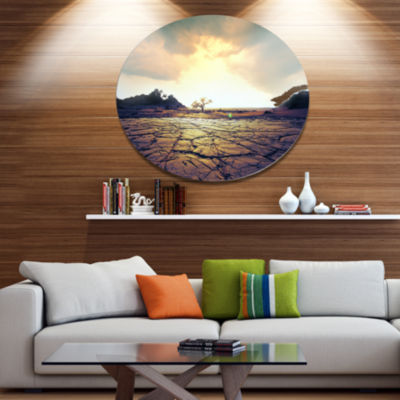 Design Art Cracked Drought Land with Sunshine Extra Large Landscape Metal Circle Wall Art