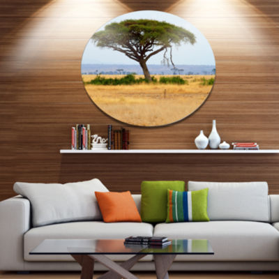 Design Art Acadia Tree and Cheetah in Africa Oversized African Landscape Metal Circle Wall Art
