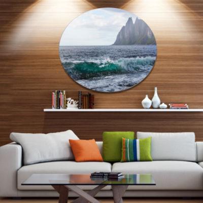 Design Art Beautiful Lofoten Island Norway Disc Large Seashore Circle Metal Wall Decor
